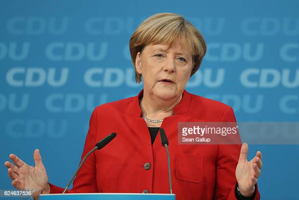 German Chancellor and Chairwoman of the German Christian Democrats Angela Merkel speaks to the media following meetings of the CDU leadership today...