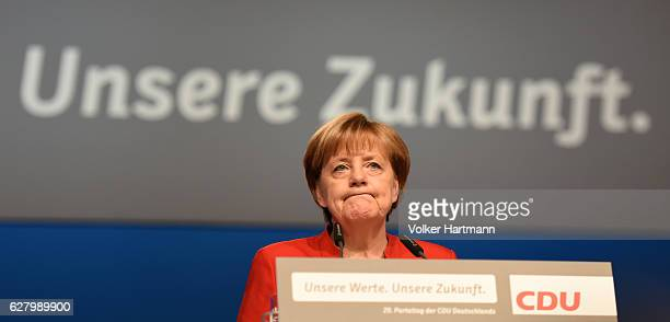 German Chancellor and Chairwoman of the German Christian Democrats Angela Merkel speaks during the 29th annual congress of the Christian Democrats on...