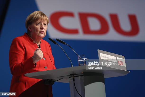 German Chancellor and Chairwoman of the German Christian Democrats Angela Merkel gives her central speech at the 29th federal congress of the CDU on...