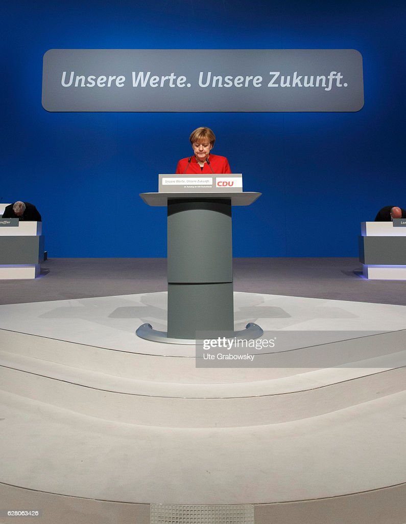 German Chancellor and Chairwoman of the German Christian Democrats (CDU) Angela Merkel speaks during the 29th annual congress of the Christian Democrats (CDU) on December 6, 2016 in Essen, Germany. Over 1,000 CDU delegates are meeting to debate and vote on the party's course for next year following the recent announcement by German Chancellor Angela Merkell that she will run for a fourth term as Chancellor in federal elections scheduled for next September. .