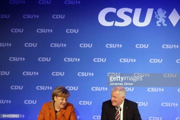 German Chancellor and Chairwoman of the German Christian Democrats Angela Merkel and Bavarian Governor and Chairman of the Bavarian Christian...