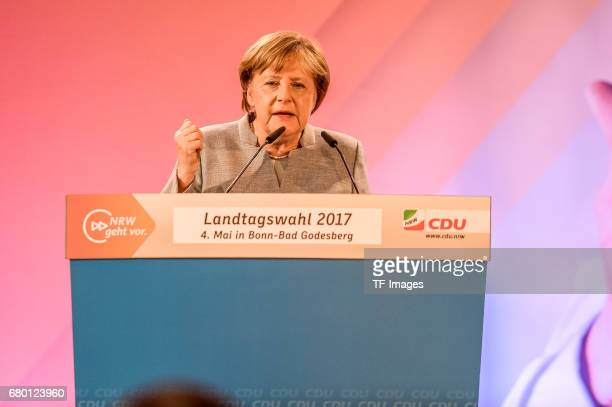 German Chancellor and Chairwoman of the German Christian Democrats Angela Merkel speaks during the CDU campaign rally for state elections in North...