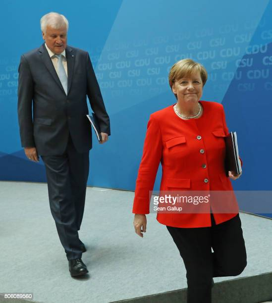German Chancellor and Chairwoman of the German Christian Democrats Angela Merkel and Bavarian Governor and Chairman of the Bavarian Christian...