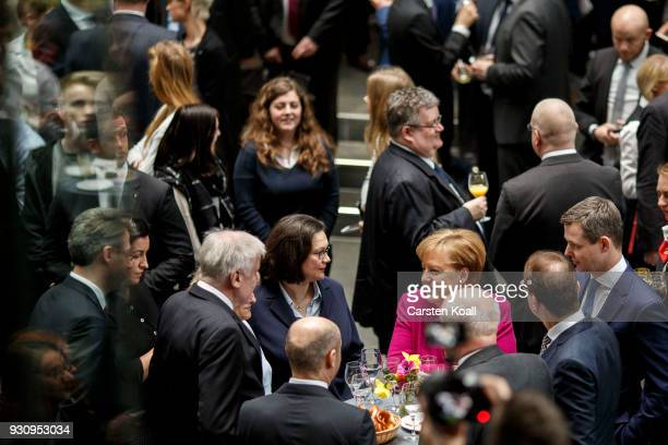 German Chancellor and Chairwoman of the German Christian Democrats Angela Merkel Andrea Nahles party leader of the German Social Democrats Acting...