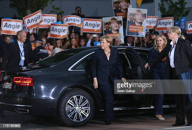 German Chancellor and Christian Democrat Angela Merkel arrives at television studios for her tevision debate with Social Democrats chancellor...