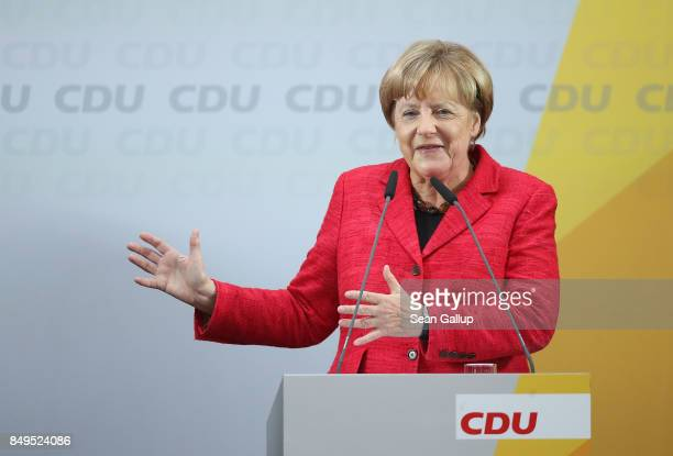 German Chancellor and Christian Democrat Angela Merkel speaks at an election campaign stop on September 19 2017 in Wismar Germany Merkel is seeking a...
