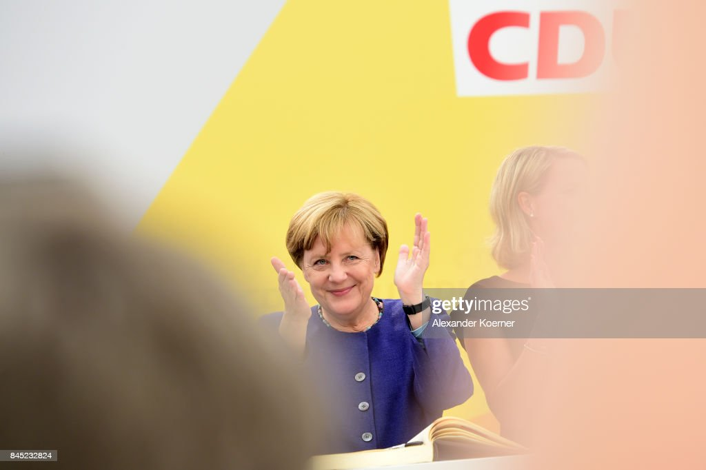 German Chancellor and Christian Democrat (CDU) Angela Merkel speaks to supporters at a fest tent during an election campaign stop on September 10, 2017 in Delbruck, Germany. Merkel is seeking a fourth term in federal elections scheduled for September 24 and currently holds a strong lead over her main rival, German Social Democrat (SPD) Martin Schulz.