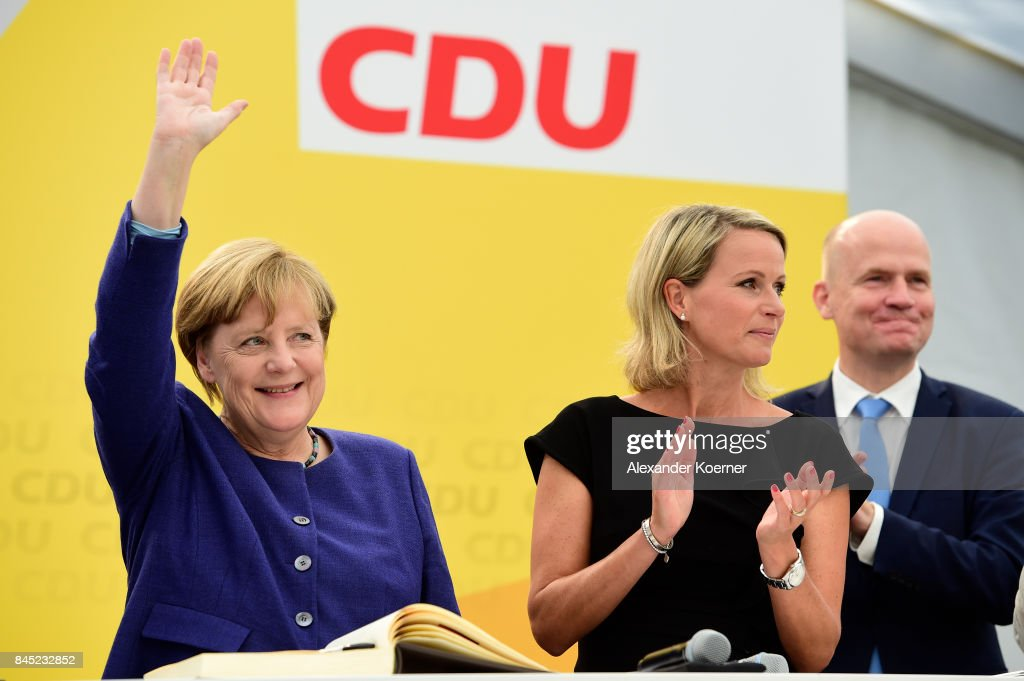 Merkel Campaigns In Delbruck : News Photo