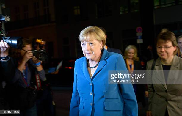 German Chancellor and Christian Democratic Union candidate Angela Merkel and her office manager Beate Baumann arrive at the German public TV Channel...