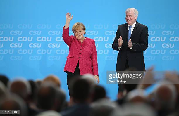 German Chancellor and German Christian Democratic Union Chairwoman Angela Merkel and Bavarian Christian Social Union Chairman Horst Seehofer receive...