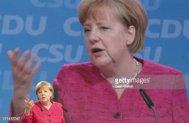 German Chancellor and German Christian Democratic Union Chairwoman Angela Merkel speaks at a summit of the CDU and the Bavarian Christian Social...