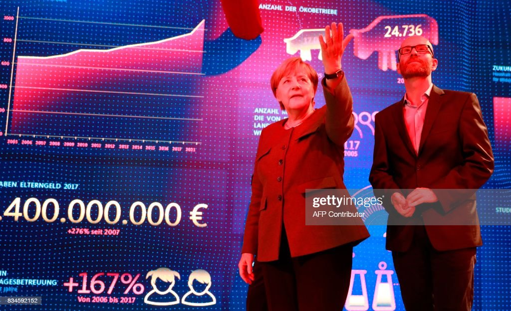 German Chancellor and head of the Christian Democrats party Angela Merkel (L) and CDU Secretary General Peter Tauber stand in front a wall displaying statistics as an exhibit during the opening of the so-called 'walkable campaigning program' in Berlin, on August 18, 2017. / AFP PHOTO / Odd ANDERSEN
