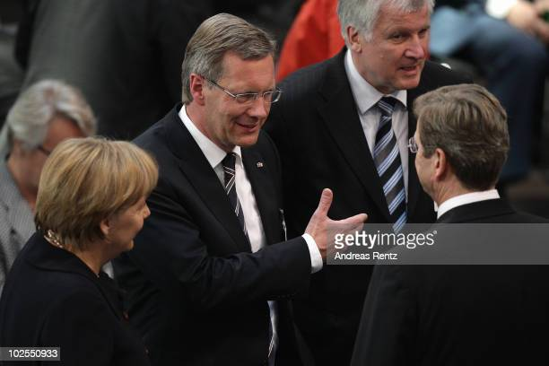 German Chancellor and head of the German Christian Democrats Angela Merkel presidential candidate Christian Wulff Bavarian Christian Democrats head...