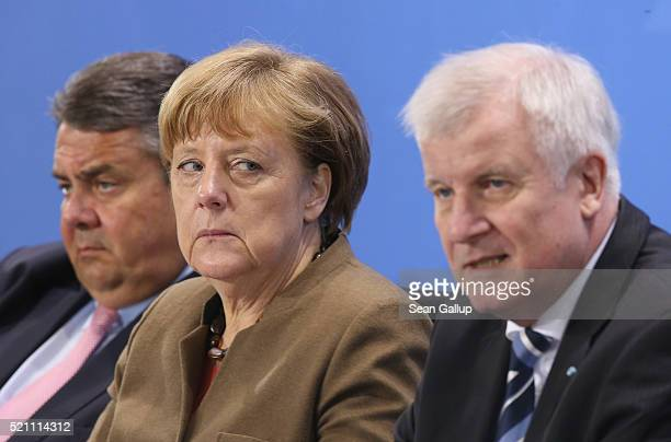 German Chancellor and head of the German Christian Democrats Angela Merkel Vice Chancellor and Economy and Energy Minister and head of the German...