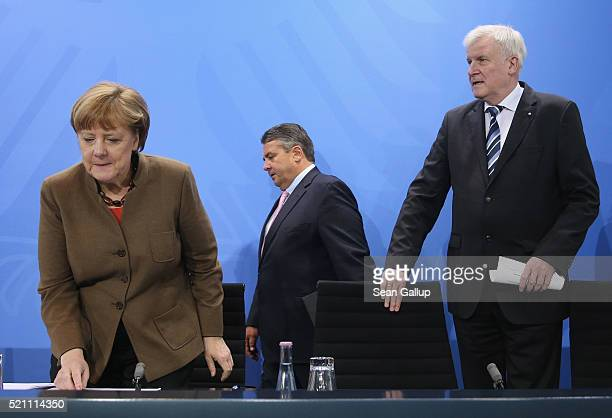 German Chancellor and head of the German Christian Democrats Angela Merkel , Vice Chancellor and Economy and Energy Minister and head of the German...
