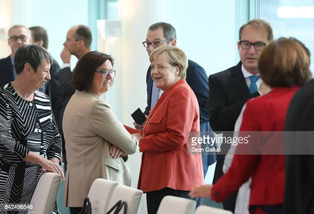 German Chancellor and head of the German Christian Democrats Angela Merkel Environment Minister Barbara Hendricks and Transport and Digital...