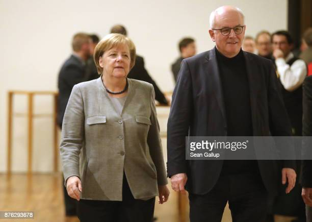German Chancellor and head of the German Christian Democrats Angela Merkel and CDU Bundestag faction leader Volker Kauder attend preliminary...