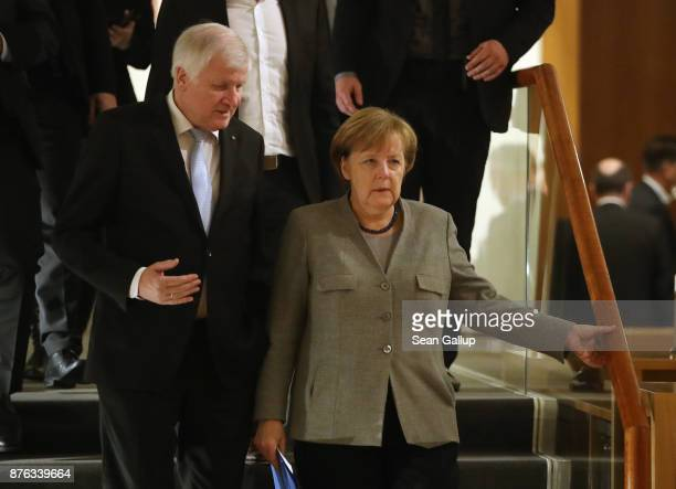 German Chancellor and head of the German Christian Democrats Angela Merkel and Horst Seehofer Governor of Bavaria and head of the Bavarian Social...