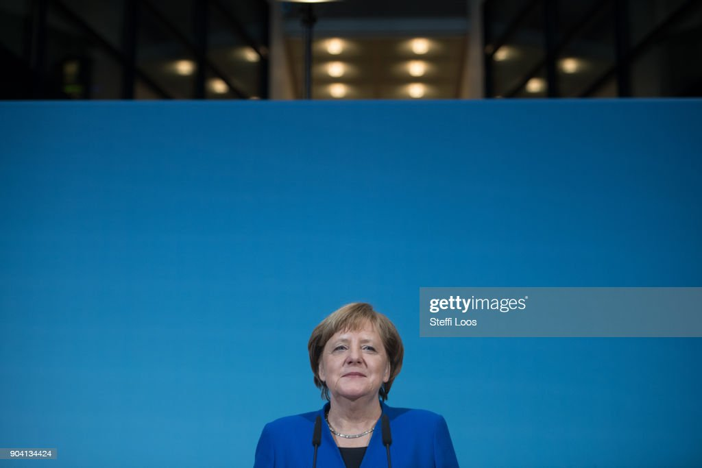 German Chancellor and head of the German Christian Democrats (CDU) Angela Merkel during statements following all-night preliminary coalition talks on January 12, 2018 in Berlin, Germany. The leaders signalled the talks have ended in success. The parties will likely soon beging the arduous process of coalition negotiations.