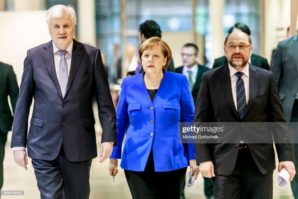 SPD, CDU And CSU Meet To Conclude Preliminary Coalition Talks : News Photo