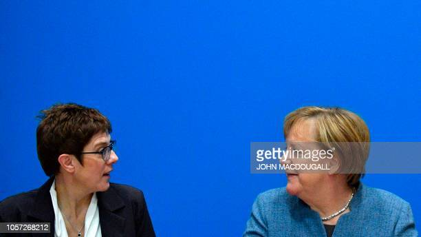 German Chancellor and leader of the Christian Democratic Union Angela Merkel and Secretary General of the Christian Democratic Union Annegret...