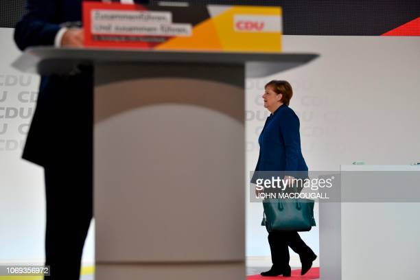 TOPSHOT German Chancellor and leader of the Christian Democratic Union Angela Merkel arrives for a party congress of Germany's conservative Christian...