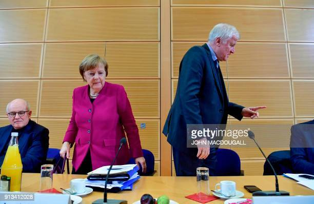 German Chancellor and leader of the Christian Democratic Union Angela Merkel and the chairman of the Bavarian Christian Social Union Horst Seehofer...