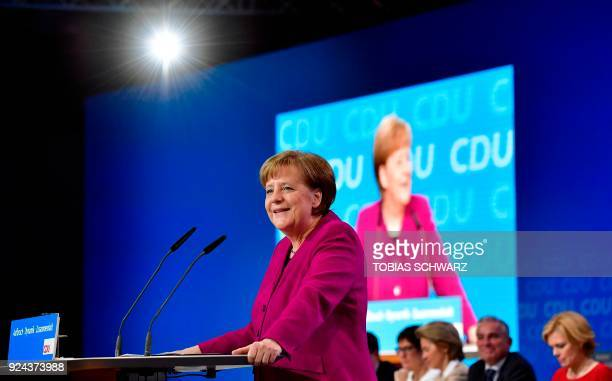 German Chancellor and leader of the Christian Democratic Union Angela Merkel delivers a speech during her party's congress on February 26 2018 in...