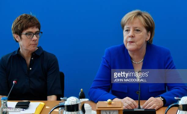 German Chancellor and leader of the Christian Democratic Union Angela Merkel and Secretary General of the Christian Democratic Union Annegret...