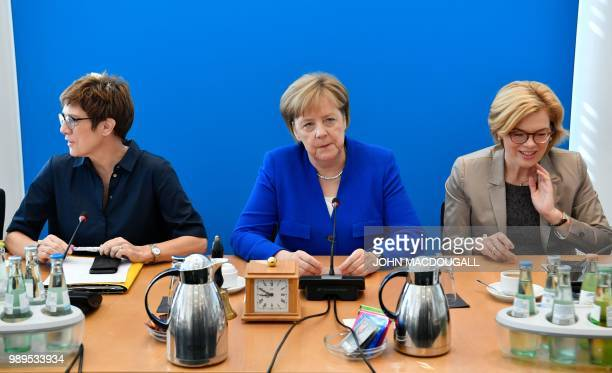 German Chancellor and leader of the Christian Democratic Union Angela Merkel the Secretary General of the Christian Democratic Union Annegret...
