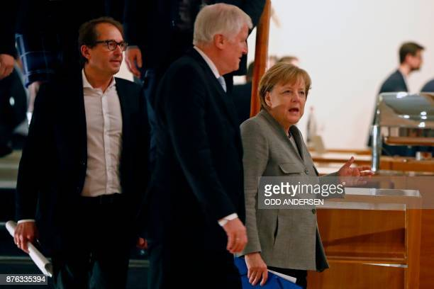 German Chancellor and leader of the Christian Democratic Union party Angela Merkel Chairman of the Bavarian Christian Social Union party Horst...