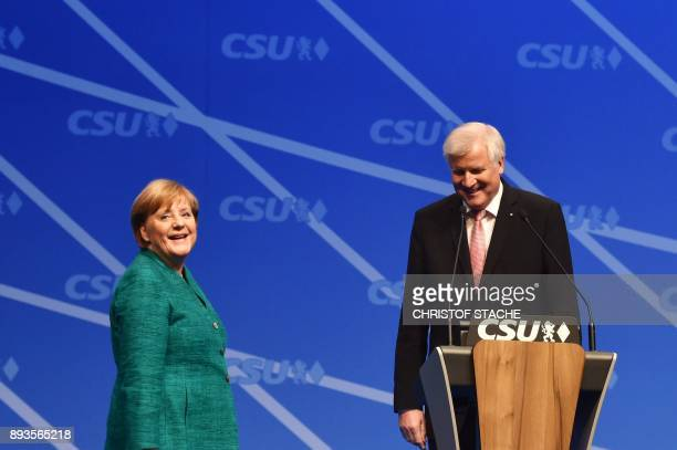 German Chancellor and leader of the Christian Democratic Union party Angela Merkel and Chairman of the Bavarian Christian Social Union party Horst...
