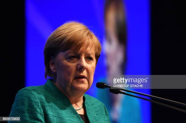 German Chancellor and leader of the Christian Democratic Union party Angela Merkel delivers her speech during the congress of the CSU party the...