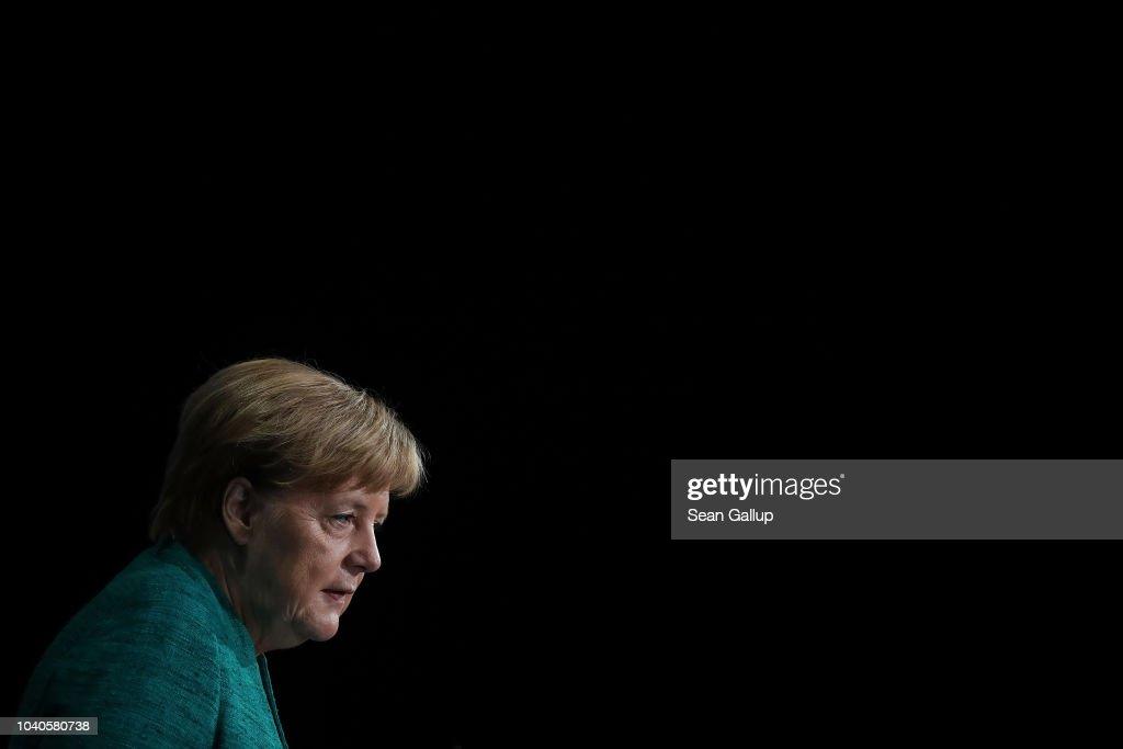 Merkel Speaks At Federation Of Industry Congress : News Photo