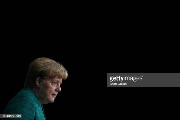 German Chancellor and leader of the German Christian Democrats Angela Merkel speaks at the annual congress of the Federation of German Industry on...