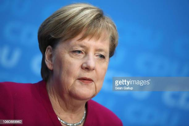 German Chancellor and leader of the German Christian Democrats Angela Merkel speaks at a press conference the day after elections in the state of...
