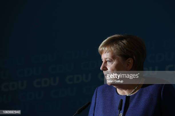German Chancellor and leader of the German Christian Democrats Angela Merkel speaks to the media following a twoday retreat of the CDU leadership at...