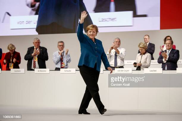 German Chancellor and leader of the German Christian Democrats Angela Merkel waves to the delegates after the speach at the 31 Federal Party Congress...