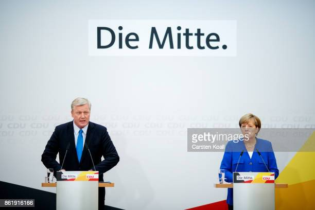 German Chancellor and leader of the German Christian Democrats Angela Merkel and CDU lead candidate in yesterday's state elections in Lower Saxony...