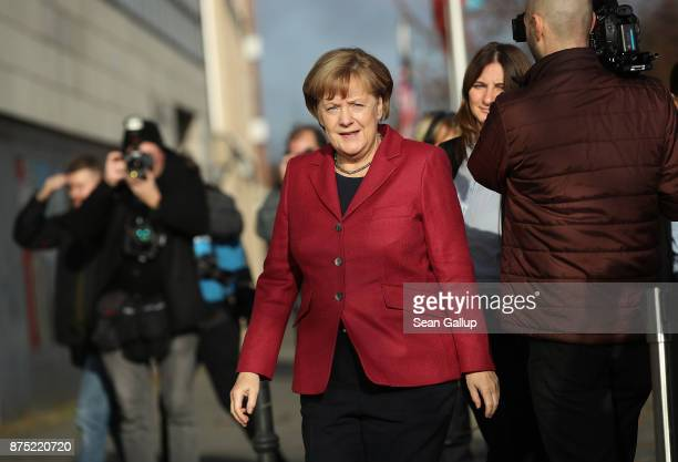 German Chancellor and leader of the German Christian Democrats Angela Merkel arrives for further talks the morning after leaders of the four...