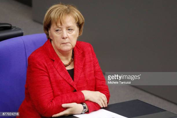 German Chancellor and leader of the German Christian Democrats Angela Merkel pauses during the first session of the Bundestag the German parliament...