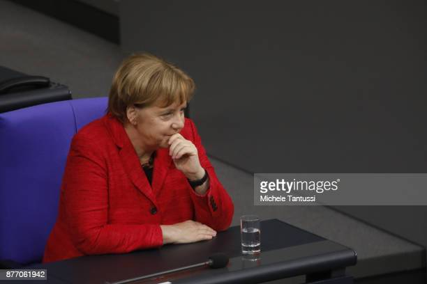 German Chancellor and leader of the German Christian Democrats Angela Merkel arrives at the Reichstag for the first session of the Bundestag the...