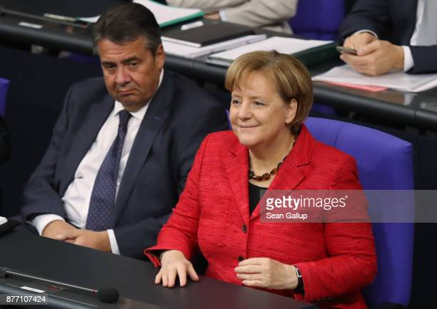 German Chancellor and leader of the German Christian Democrats Angela Merkel and Forign Minister Sigmar Gabriel the first Bundestag session since the...
