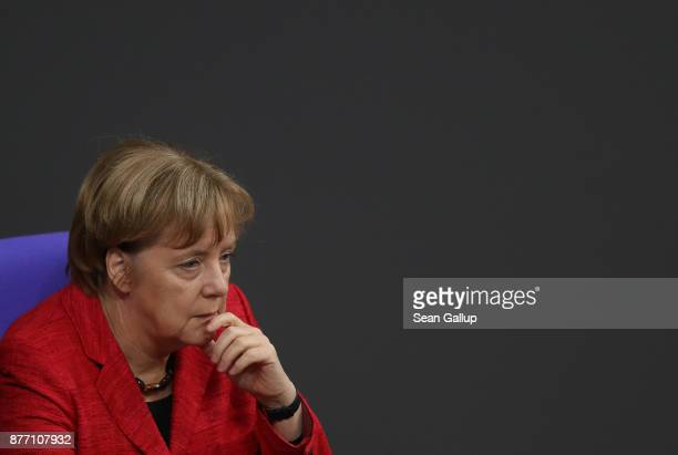 German Chancellor and leader of the German Christian Democrats Angela Merkel attends the first Bundestag session since the collapse of government...