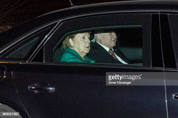 German Chancellor and leader of the German Christian Democrats Angela Merkel arrives with Horst Seehofer Governor of Bavaria and leader of the...