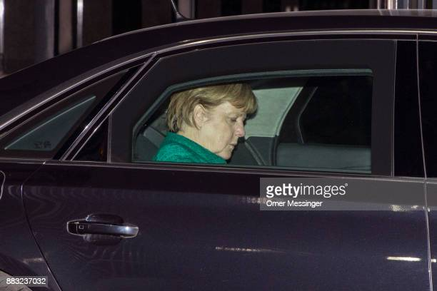 German Chancellor and leader of the German Christian Democrats Angela Merkel leaves a meeting of the CDU the Bavarian Christian Democrats and the...