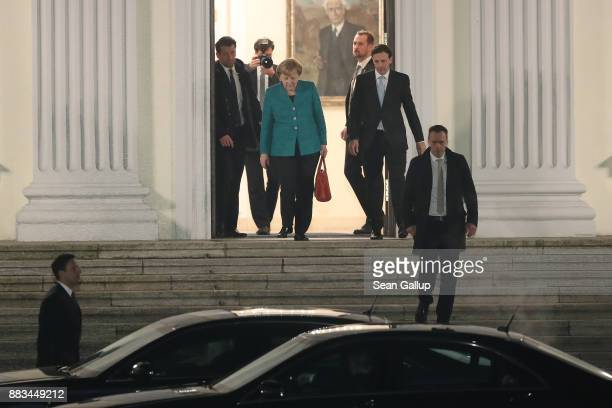 German Chancellor and leader of the German Christian Democrats Angela Merkel departs after a meeting of the CDU the Bavarian Christian Democrats and...
