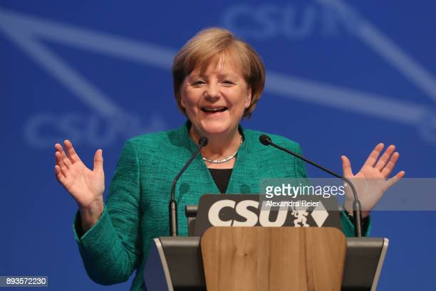 German Chancellor and leader of the German Christian Democrats Angela Merkel speaks at the party congress of the CDU sister party the Bavarian...