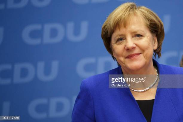 German Chancellor and leader of the German Christian Democrats Angela Merkel arrives at a meeting of the CDU leadership following all night talks...