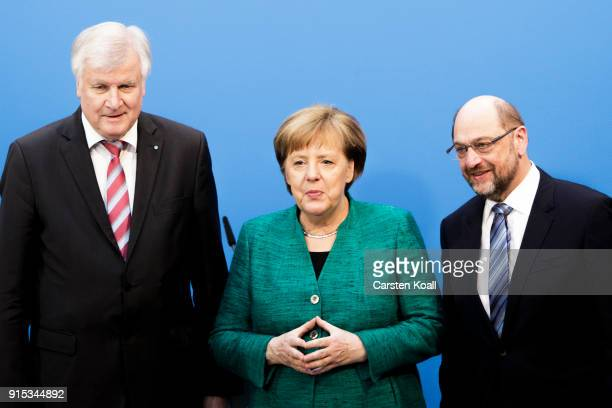 German Chancellor and leader of the German Christian Democrats Angela Merkel leader of the German Social Democrats Martin Schulz and Bavarian...